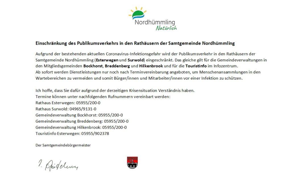 Einschränkung des Publikumsverkehrs  in den Rathäusern der Samtgemeinde Nordhümmling