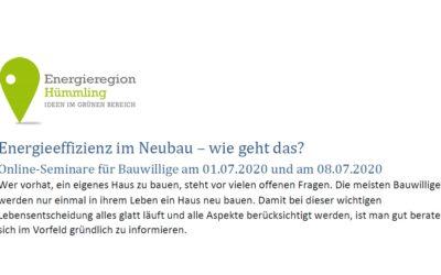 Online-Seminare für Bauwillige am 01.07.2020 und am 08.07.2020