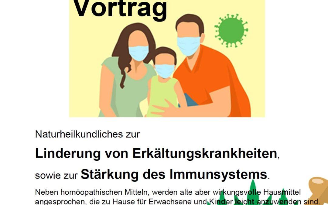 Vortrag: Naturheilkundliches zur Linderung von Erkältungskrankheiten sowie zur Stärkung des Immunsystems