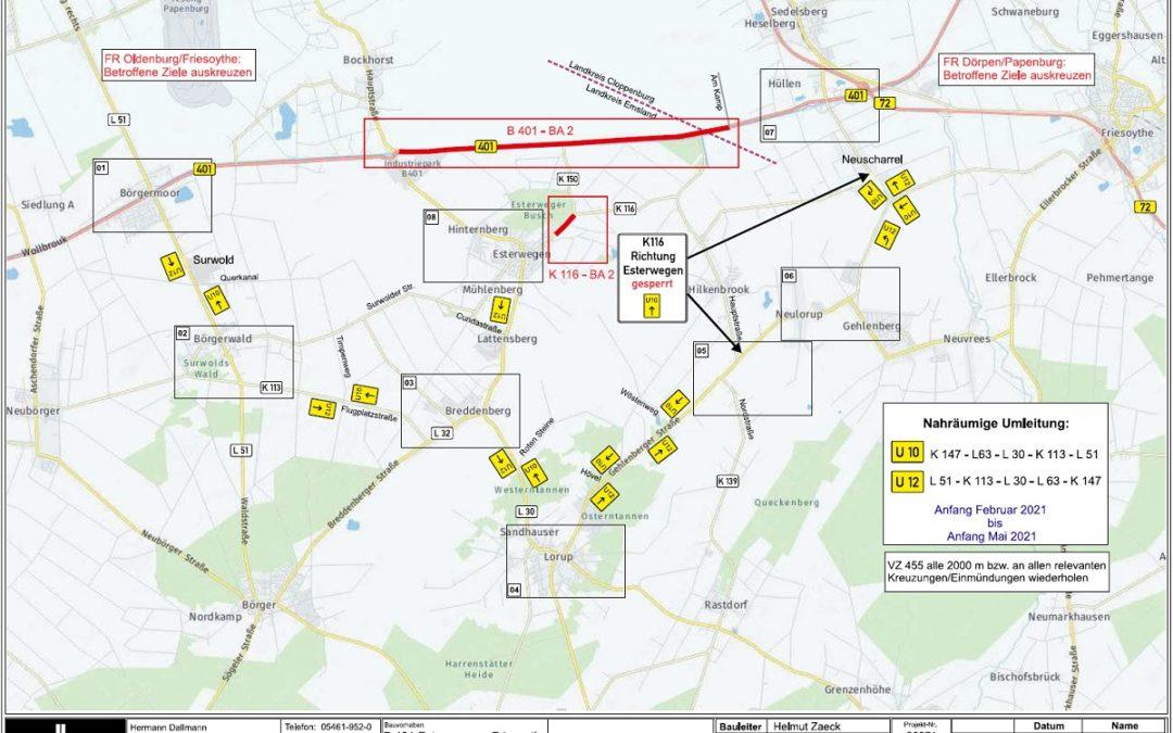 Baustellen und Straßensperrungen in der Samtgemeinde Nordhümmling